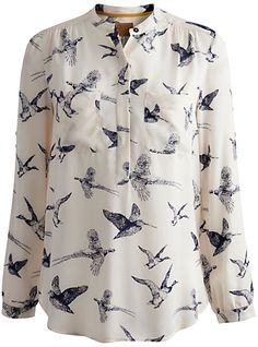 Joules Rosamund Bird Blouse, Etched Birds