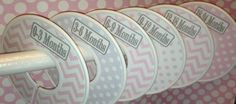 6 Custom Baby Closet Clothes Dividers Organizers in Modern Light Pink and Grey Chevrons and Dots Girl Baby Shower Nursery Gift