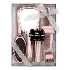 Hair Brush and Mirror Styling Gift Set, 14 pieces, Beige Girly Things, Cool Things To Buy, Bright Summer Acrylic Nails, Hair Brush Set, Makeup Gift Sets, Hair Supplies, Luxury Beauty, Hair Tools, Beauty Care