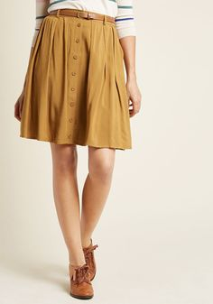 Bookstore's Best A-Line Skirt in Butterscotch - Browse bestsellers in your best look yet - this beautifully belted skirt! Designed with scholarly details, like pleats, hidden pockets, and decorative buttons, this deep tan, ModCloth-exclusive bottom makes for one stylish reading experience.