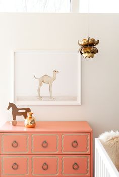 gorgeous vintage pink and gold nursery