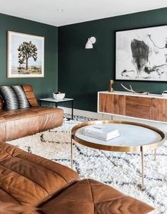 dark green walls contrast warm brown leather furniture and make the living room … - Modern Colourful Living Room, Living Room Green, Colorful Living Room Design, Living Room Wall, Green Walls Living Room, Interior, Home And Living, Tiny Living Rooms, Dark Green Living Room
