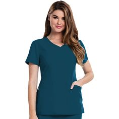 A removable wristlet in the pocket of this Careisma by Sofia Vergara Women\'s Sofia V-Neck Solid Scrub Top lets you easily keep small items organized. Contoured seaming creates a flattering fit you\'ll love to wear. | #scrubs #scrubtops #scrubstyle