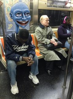 Artist Draws Fantastical Creatures Interacting with Commuters on NYC Subway - My…