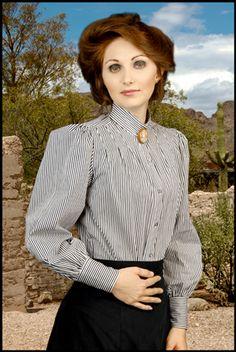 Black and white stripe Victorian blouse.