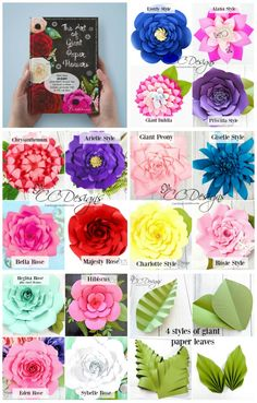 The Art of Giant Paper Flowers. DIY paper flower ebook. How to make giant paper flowers. Printable flower templates. Giant paper roses. By Catching Colorflies