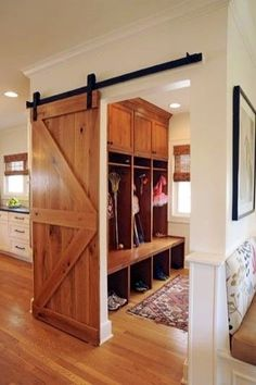 I ♥ the Barn Door Closure and the Cubbies a bench to sit. A Gr8 Organization Design