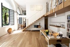 Open floor plan with lofted library. #home #architecture  T House by Takane Ezoe