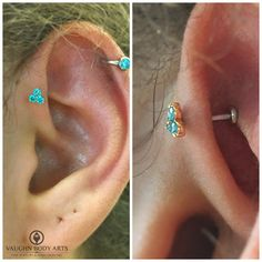 Here's a fresh forward helix Cody got to do for Brianna a couple days ago. She picked out this 18k rose gold trio end from @anatometal with mint green gemstones. Thanks so much, Brianna! @vaughnbodyarts Monterey, CA