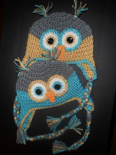 Crochet Infant TWINS Owl Hats with Earflaps Baby by crafthappenz