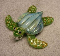 Lampwork Boro Glass Pendant  Focal Bead  LEATHERBACK by jilleglass