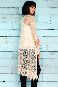 The Sanford Crochet Duster Wrap is made uo if intricate floral chambray and falls to the knee. Lace Wrap, Dusters, Chambray, Crochet, Floral, Tops, Women, Fashion, Moda