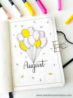 My bullet journal august monthly cover page. (bujo, bullet journal, i Bullet Journal August, Bullet Journal Cover Page, Bullet Journal Notebook, Bullet Journal Spread, Bullet Journal Ideas Pages, Journal Covers, Bullet Journal Inspiration, Journal Pages, Birthday Bullet Journal