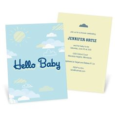 Sweetly Sitting Among the Clouds -- Baby Shower Invitations