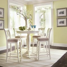 American Drew Camden 5 Piece Round Pedestal Gathering Height Table Set    White   Enjoy A Clean And Elegant Look For Your Dining Space With The  American Drew ...