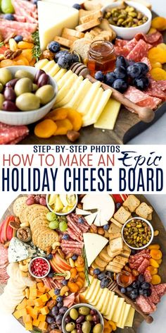 How to Make an Epic Holiday Cheese Board in just 10 minutes! The best cheeses to buy and how to fill Charcuterie Recipes, Charcuterie And Cheese Board, Cheese Boards, Carne Asada, Holiday Appetizers, Appetizer Recipes, Thanksgiving Appetizers, Party Food Platters, Easy Holiday Recipes