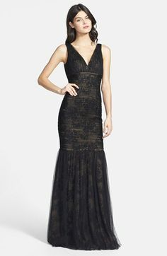 Monique Lhuillier Shirred Tulle Overlay Lace Trumpet Dress on shopstyle.com