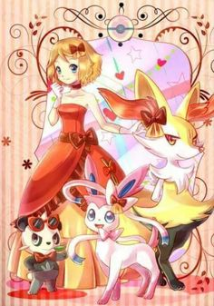 Serena with all of her Pokémon ♡ I give good credit to whoever made this