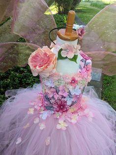 Ethereal Gaia Fairy costume dress, romantic leaves flower f Pink Flower Girl Dresses, Little Girl Dresses, Pink Flowers, Satin Flowers, Baby Fairy Costume, Princesa Tutu, Diy Tutu, Fairy Birthday Party, Feather Dress