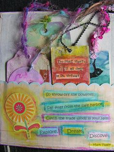 Pinner says - I'm going to do a Prayers and Poems Journal. And also One for quotes on ACEOs, ATCs, and tags - this page is pretty much how envisaged my own quote album will look.  (Like the ideas <3)