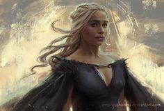 "Game of Thrones - Daenerys Targaryen ""Dragon Queen"" by Inna-Vjuzhanina on DeviantArt. Game Of Thrones Dragons, Got Dragons, Game Of Thrones Art, Mother Of Dragons, Emilia Clarke, Daenerys Targaryen Art, Khaleesi, Game Of Thrones Illustrations, Burning City"