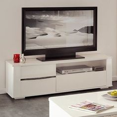 Parisot Ceram High Gloss White TV Stands / Unit with Drawers