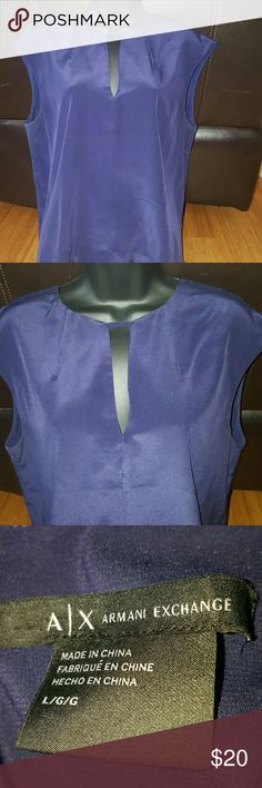 Armani Exchange Silk Blouse Beautiful blue silk blouse Worn only twice in great condition Shell.100% Silk Lining 93% Polyester 7% Spandex Size Large Armani Exchange Tops Blouses