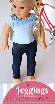 Sew jeggings for your American Girl 18 inch doll. Free sewing pattern and tutorial from ManySmallFriends.com. ♥ Easy and cute! ♥