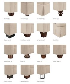 BASE AND LEG STYLES All Drexel Heritage upholstery base and leg styles are shown below.
