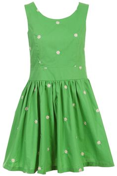 ROMWE   Daisy Embroidered Green Dress, The Latest Street Fashion