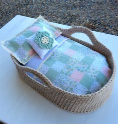 Cute crocheted dolls Moses basket and bedding play set