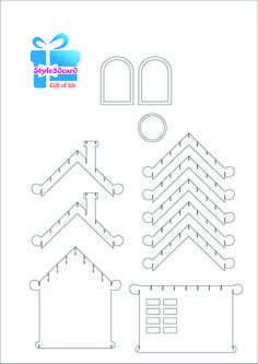 Merry Christams invitation house New Year gift cards kirigami pattern 3