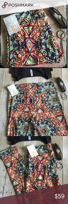 🆕 LulaRoe BLACK ORANGE MINT MEDALLION TC Leggings 🆕 LulaRoe BLACK ORANGE MINT MEDALLION TC Leggings! Black background with Royal blue, orange, & mint medallion print ... UNBELIEVABLY GORGEOUS! Very VERY sought after NEW print & hard to find! Supply + DEMAND = Price These are made in Vietnam. * I am not a consultant… I am just a LulaRoe addict and love the hunt to find great prints! Enjoy!  {$25 is not an acceptable offer} LuLaRoe Pants Leggings