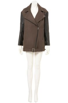 Leather Sleeve Biker Coat