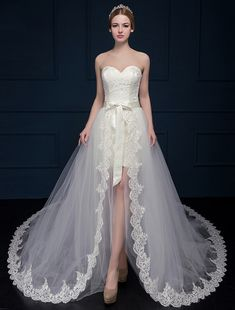 Sheath / Column Wedding Dress Court Train Sweetheart Lace / Tulle with Lace
