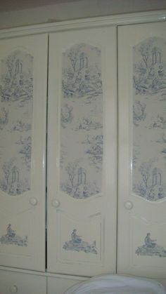 old pine wardrobe painted and wallpaper panels