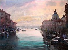 Dusan Djukaric     Santa Maria della Salute, watercolor, 54x74 cm
