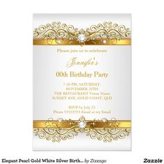 Elegant Pearl Gold White Silver Birthday Party 5x7 Paper Invitation Card