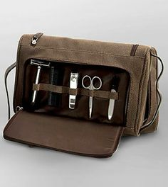 Father's Day gifting - Brown Leather Travel Toiletry Bag with Manicure Set