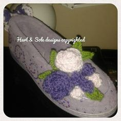Customised crochet covered slippers made by Gracie Hart for Hart & Sole designs