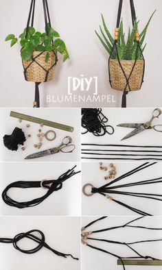 Einfache Makramé Blumenampel aus Jerseygarn {DIY Whether on the terrace, above the balcony or in the apartment: hanging baskets – Hanging Flower Pots, Hanging Baskets, Hanging Plant Diy, Macrame Plant Hanger Diy, Plant Hangers, Hanging Planters, Diy Hanging Planter Macrame, Macreme Plant Hanger, Diy 2019