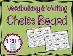 Writing and Vocabulary Novel or Book Response Choice Board.  FREE! Two different choice boards to provide differentiated options for your students to show their learning and thinking. One choice board has writing response prompts to respond to novels and the other has vocabulary responses.