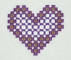 Lovely Hardanger openwork heart ( page 4 of the gallery). This technique uses different floss and cloth, but might be something interesting to try in the future: Broderie Hardanger - Cœur Hardanger
