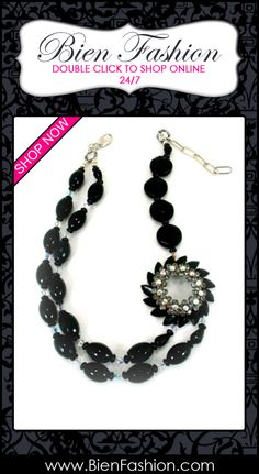 Bold Necklace | Bold Jewelry | Chunky Necklace ♥ Black Semi Precious Stone,vintage Rhinestone and Jet and Onyx Necklace One of a Kind Classic Designer Jewelry $299.00