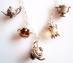 1960s Sterling Silver Tea Total Long Vintage Charm Necklace.