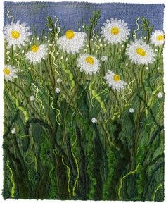 "Meadow Daisies  Grasses, weeds and all things green and wormy. Machine stitching and hand couching yarns and threads.  5 1/2"" x 7"""