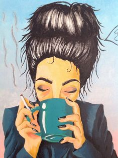 """Painting woman face """"bad morning?"""" by Catrylics on Etsy https://www.etsy.com/listing/586334193/painting-woman-face-bad-morning"""