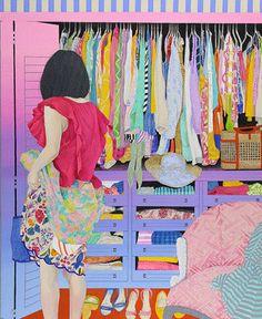 ¿Y al final qué eligió ponerse? Artista: Naomi Okubo. Pineado desde http://nyaooon.jimdo.com/works/ (PAINTINGS 2014)