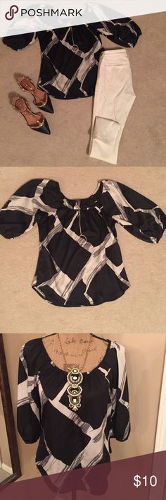 """""""Not A Complete Black Out"""" Top NWT Easy wear top  Great for travel since it's made from 100% polyester  it won't wrinkle  Wear with jeans or tucked into a skirt  a great addition to any wardrobe Tops Blouses"""