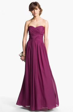 Bridesmaid Dress- JS Boutique Strapless Ruched Chiffon Gown available at Red Bridesmaids, Red Bridesmaid Dresses, Prom Dresses, Formal Dresses, Wedding Dresses, Dress Prom, Party Dress, Traje Black Tie, Chiffon Gown